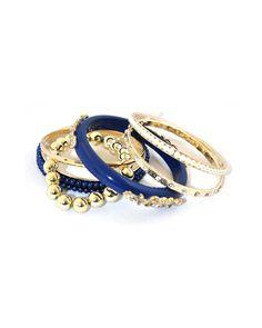 Pulseiras azul e dourado com seis peças - Acessórios - Doll's Boutique