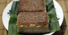 Sweet and yummy – one of the popular Myanmar (Burmese) dessert called Golden Semolina Pudding – making with semolina and coconut.