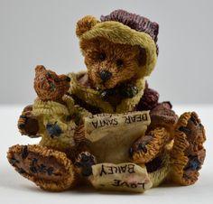 Boyds Bears Kringle & Bailey With List - Resin Figurine Boyds Bears, Teddy Bears, Treasure Boxes, Keepsake Boxes, Resin, Plush, Dolls, Cute, Child