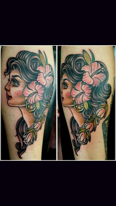 Custom traditional Hawaiian girl portrait that represents my girlfriend. Done by Corina Cline at Ventura tattoo and piercing.