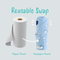 Switch out your paper towel for a reusable alternative. Made using organic cotton flannelette and fitted with snaps at the corners to easily re-roll and store the set on your existing paper towel holder. Green Cleaning Recipes, Paper Towel Holder, Biomes, Make Your Own, Organic Cotton, Alternative, Store, Larger, Shop