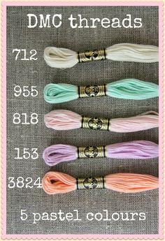 DMC threads in pastels, Plushka's craft