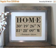 ON SALE Latitude Longitude Sign  House Warming von EmmaAndTheBean