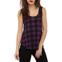 simple tank : buffalo check (B&W) with FOE fold over elastic neckline & armhole bindings (in gold!)