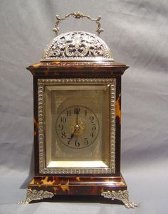 Antique English tortoiseshell & silver mounted carriage clock by Louchars. 1875.