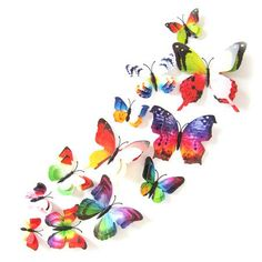 12pcs/set DIY 3D Simulated Butterfly Wall Stickers Decal Double Wing Butterflies Nature Living Room Background Home Wall Decor