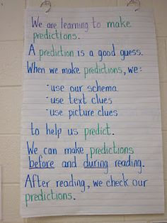 Predictions: good anchor chart for linking evidence to the predictions