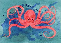 Pink Octopus Art Print by Cheryl Francis | Society6