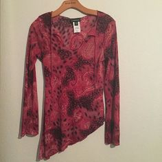 BEBE Asymmetrical paisley leopard tunic Beautiful summer shirt that can be paired with black leggings. Very stylish and wild. bebe Tops Tunics