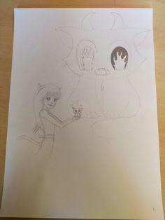 Dit is mijn tekening nadat ik in de vakantie eraan gewerkt had. Ik heb het kleine schattige poesje getekend en de grote duivelse kat erachter. Ook vlammen in zijn ogen en duivels hoornen om te laten zien dat hij echt duivels is.