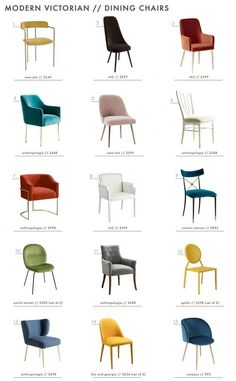If you really want to nail the modern victorian trend then colorful and beautiful dining chairs are a must. - Modern Victorian Style: Furniture + Our Favorites Roundup - Emily Henderson Furniture Styles, Home Furniture, Modern Furniture, Furniture Design, Futuristic Furniture, Plywood Furniture, Vintage Furniture, Mexican Furniture, Velvet Furniture