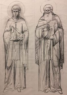 garb of a novice monk and a white priest. Byzantine Icons, Byzantine Art, Drawing S, Painting & Drawing, Art History Major, Archangel Michael, Tattoo Stencils, Orthodox Icons, Mural Painting