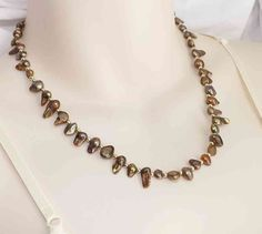 Bronze freshwater pearl bead necklace .. cultured blister pearl brown jewelry