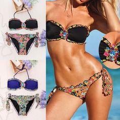 020c845050cf1 Exotic Floral Designs Bikini Swimsuit Push-up Padded Bra Swimwear Bathing  Suit  EmmaYLady