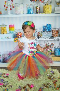 Boutique Candyland cumpleaños Applique camisa de niña personalizada, Body…