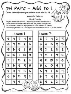 FREEBIE - Owl Pairs Add to 11 - Children find pairs of numbers on the board that add to 11 - the one who find the last pair is the winner! A NO PREP math game - just print and play!