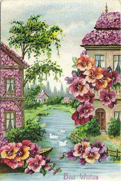 Antique Pansy postcard…Best Wishes, - Blumen Vintage Pictures, Vintage Images, Vintage Art, Decoupage Vintage, Vintage Greeting Cards, Vintage Postcards, Flower Images, Flower Art, Illustrations
