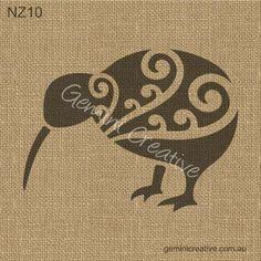 New Zealand kiwi stencil. Made in Australia. New Zealand Tattoo, New Zealand Art, Stencil Art, Maori Symbols, New Art, Stone Art, Bird Silhouette, Bird Stencil, Stencils