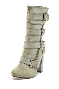 Bucco Strappy Buckle Mid Calf Boot