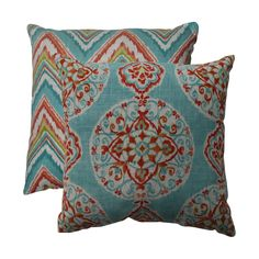 This decorative throw pillow set from Pillow Perfect features two cozy pillows with knife edging to enhance their beauty. One pillow has a chevron pattern and the other has a medallion pattern, and when combined they are an amazing sight to see.