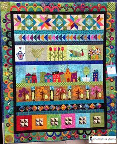 Grandma Town Row by Row Quilt by Lori Miller Designs Strip Quilts, Scrappy Quilts, Row By Row, The Row, Quilting Designs, Quilting Projects, Medallion Quilt, Quilt Border, Sampler Quilts