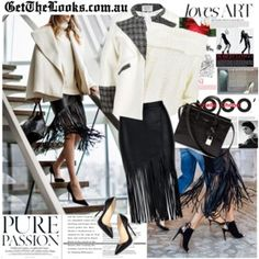A collage from Polyvore LEATHER LOOK PENCIL SKIRT WITH FRINGE $69.00 http://getthelooks.com.au/leather-look-pencil-skirt-with-fringe eBay: http://cgi.ebay.com.au/ws/eBayISAPI.dll?ViewItem&rd=1&item=181640103125  TWEED COCOON JACKET IN MONO $84.00 http://getthelooks.com.au/tweed-cocoon-jacket-in-mono on eBay: http://cgi.ebay.com.au/ws/eBayISAPI.dll?ViewItem&item=181216065890&ssPageName=STRK:MESE:IT