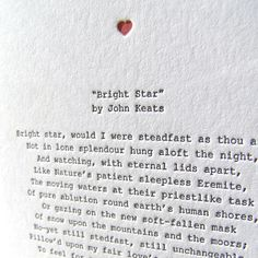 The British Romantic poets believed in celebrating nature, and the individual. They had a particular disdain for modern technology. So I'd like to think letterpress printing their poems in today's world would have pleased them so. The card features the key second generation of British Romantic poets - Lord Byron, Percy Shelley and John Keats - with a poem from each encapsulated in a heart-shaped design.,Heart Card: