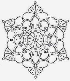 Ivelise Hand Made: Lacy Motif In Crochet Crochet Snowflake Pattern, Crochet Motif Patterns, Crochet Stars, Crochet Snowflakes, Crochet Diagram, Thread Crochet, Crochet Stitches, Crochet Dollies, Mundo Craft