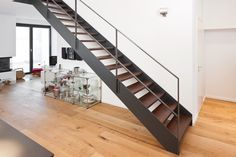 171212 007 loft stairs, floating staircase, post and beam, beams, Open Stairs, Loft Stairs, House Stairs, Under Stairs, Industrial Stairs, Floating Staircase, Wooden Staircases, Yellow Bathrooms, Painted Stairs