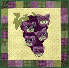 """This is block twenty one of the popular StoryQuilt series, Garden Patch Cats by Helene Knott. The quilt block finishes at 18"""" square. Helene's Chicken Veronique recipe is included. Chicken VeroniqueCh"""