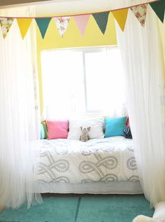 Baby nursery children room design - could put letters or numbers on little fabric flags (?) :-\