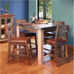 International Furniture Direct 900 Antique 42 Counter Height Dining Table Set