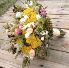 Vintage Wildflower Collection - Bridal Bouquet - Bride - Dried Flower Wedding Bouquets-Brown Peach Pink Moss Herb Rustic Yellow Natural Chic by FamilyDriedFlowers on Etsy