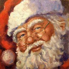Santa - Art by Linda Smith Father Christmas, Vintage Christmas Cards, Santa Christmas, Christmas Pictures, Christmas Trees, Christmas Decor, Primitive Christmas, Retro Christmas, Country Christmas