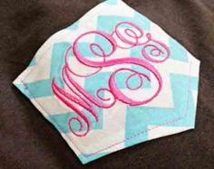 Long Sleeved Monogrammed Pocket Tee Chevron Pocket T-Shirt Monogrammed Personalized Tees