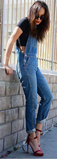 8cd6887e Nice Denim Outfits Overalls~Visit www.lanyardelegan... for beautiful  Crystal Lanyards