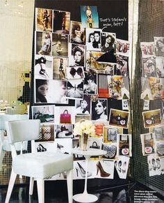 A different approach to decorating with collage - creating a wall of inspiring images.