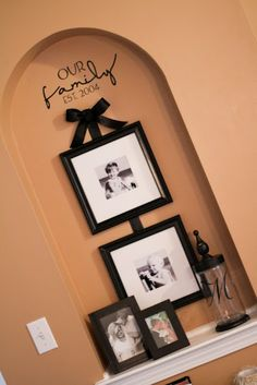 Ribbon added to plain frames gives just the right touch! Vinyl lettering cut out with cricut! Alcove Decor, Niche Decor, Art Niche, Wall Decor, Archway Decor, Wall Art, Wall Nook, Home Projects, Just In Case