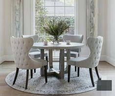 Dining Room Table Decor, Elegant Dining Room, Luxury Dining Room, Dining Room Design, Living Room Decor, Round Dinning Room Table, Grey Dining Room Chairs, Dinning Room Ideas, Shabby Chic Dinning Room