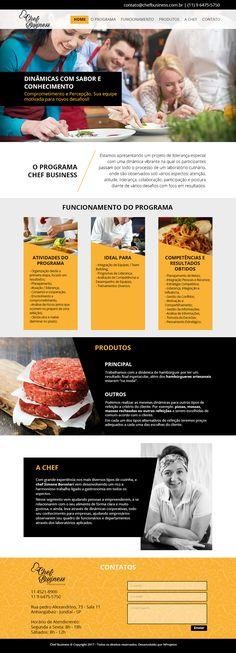 Site Chef Business - programa de treinamento especial com uma dinâmica vibrante na qual os participantes passam por todo o processo de um laboratório culinário, onde são observados sob vários aspectos com foco em resultados.  Com conteúdo prático e objetivo, também optamos por desenvolver este site na tendência single page, trabalhando com full banners, colunas de textos e imagens sugestivas de acordo com o serviço oferecido pelo cliente. #site #webdesign #singlepage
