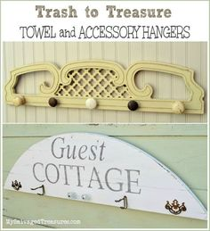 Guest Cottage Towel and Accessory Hangers made from salvaged junk. From MySalvagedTreasures.com