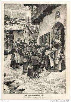Das Kinder-Neujahrssingen in Tirol (Fritz Bergen )    -  Druck , entnommen aus…