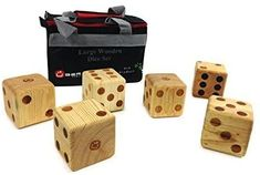 Uber Games Large Wooden Dice - 6 Solid Pine Dice x x Complete with Handy Nylon Storage Bag Camping Games Kids, Fun Games For Kids, Activities For Kids, Wedding Yard Games, Yahtzee Score Sheets, Yard Yahtzee, Wood Dice, Adult Party Games, Having A Blast