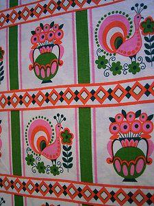 70er Jahre Stoff Graziella like Pril Blumen Pantone Shabby Chic Vintage Landhaus