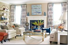 Color pallet for this living room is from the Kathy Ireland fabric on the curtain panels.