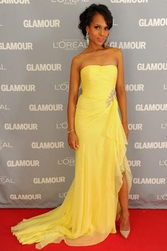 Kerry Washington blew us away on the Glamour Awards red carpet in a strapless yellow chiffon gown.  Brand: Marchesa