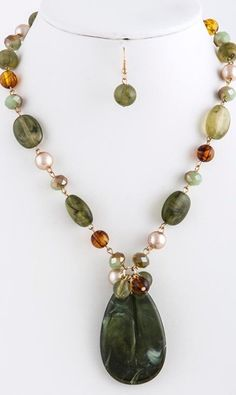 Acrylic Teardrop Necklace & Earrings Set - Green Olive - 17 inches