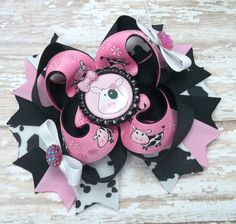 Pink And Black Cow Hair Bow  Boutique Cow by JustinesBoutiqueBows
