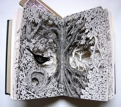 Blackbird Nest is an altered book which began life as a second-hand, hardbacked book from a charity shop. I illudtrated and cutaway pages inside to create layers and depth to the picture, The book measures 32 cm x 23 cm (about 12.5 inches x 9 inches) when open and 15 cm x 23 cm ( 6 inches x 9 inches) when closed.  It comes well packaged in bubble-wrap and brown paper.