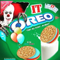 Yummmm 😱 Visit iHorror.com for this article! 🎈 #horror #ihorror #it #pennywise #horrormovies #clown #oreo #halloween Steven King, Cereal Killer, Horror Movies, Oreo, Goodies, Birthday Cake, Halloween, Easy, Desserts